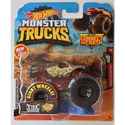 Monster Truck HOT Wheels 1:64 Scale Monster Myths 1/5, FIRE Starter 5/50 Includes Connect and Crash CAR: Toys & Games [5Bkhe0604393]