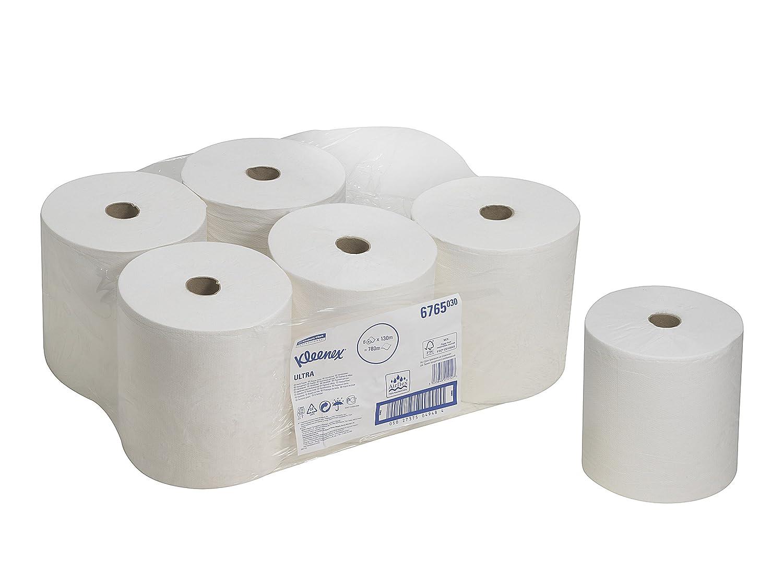 KLEENEX* ULTRA Rollo de Toallas Secamanos 6765 - 6 rollos x 130 m de color blanco y 2 capas: Amazon.es: Industria, empresas y ciencia