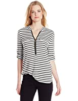 Calvin Klein Women's Stripe Zip Front Roll Sleeve Blouse