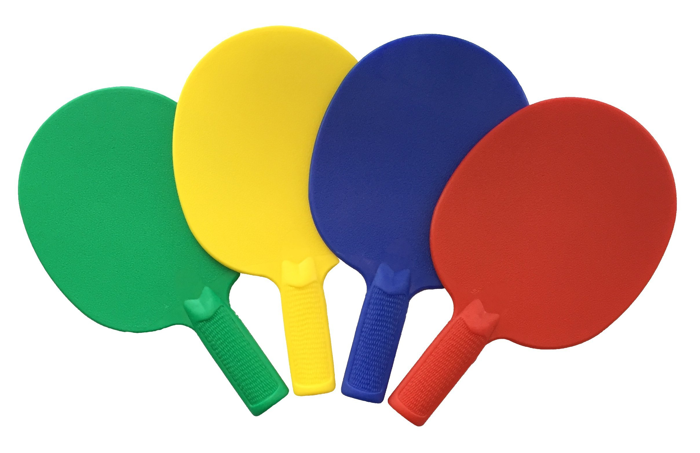 Plastic Ping Pong Paddles - Complete Set of 4 Durable Multi-Color, Blue, Red, Green, Yellow Paddles for Kids or Outdoor Tables at Camp, Vacation, Rec Centers. Textured for Easy Grip and Light Spin.
