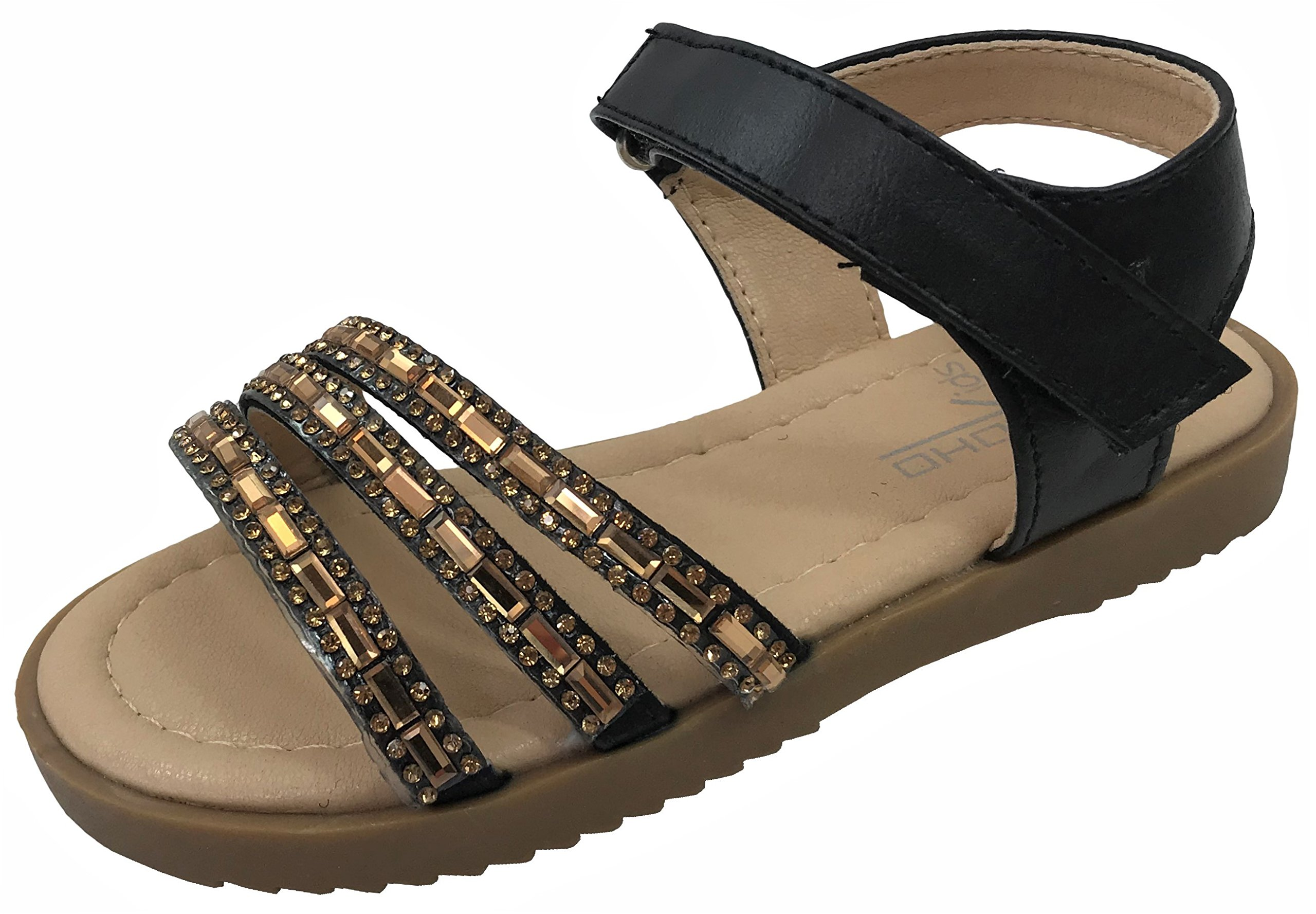 Soho Girls, Toddler Infant Kids Basic Summer Wedge Sandals Amy Black 6