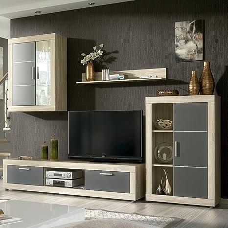 HomeSouth - Mueble de comedor con leds, salon vitrina modelo Fiordo,  acabado color Cambria y Grafito, medidas: 259 cm de ancho