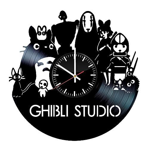 Ghibli Studio Vinyl Record Wall Clock .Get unique home room wall decor. Cool gift ideas for friends.
