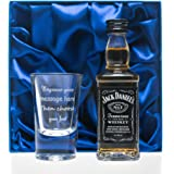 Personalised Shot Glass & Jack Daniels in Silk Gift Box Set For Best Man/Dad/Wedding/18th/21st/30th/40th Birthday Gift