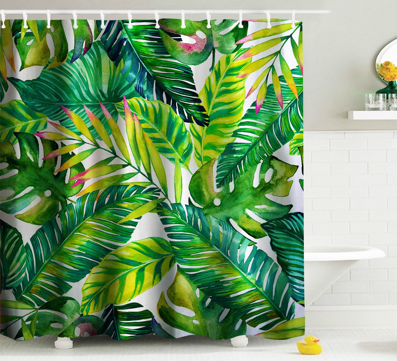 Goodbath Green Banana leaf Shower Curtain by, Tropical Palm Leaves ...