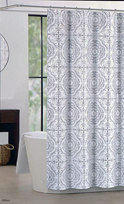 Nicole Miller Fabric Shower Curtain Gray And White Tile Medallion Pattern Abbey