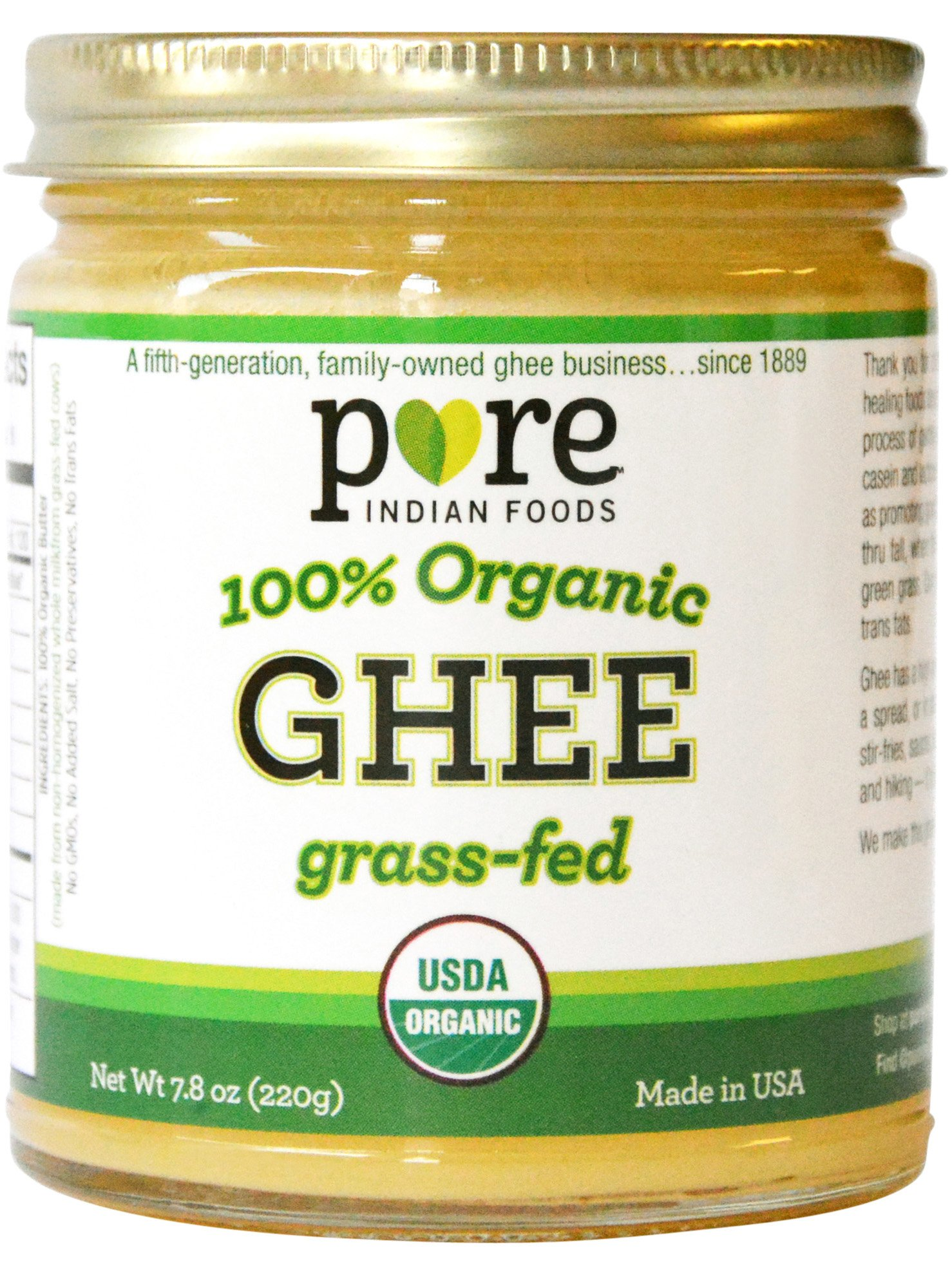Grassfed Organic Ghee 7.8 Oz - Pure Indian Foods(R) Brand by Pure Indian Foods (Image #1)