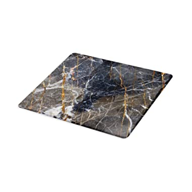 Lunarable Marble Cutting Board, Abstract Medieval Style Architecture Ceramic Textured Facet Design, Decorative Tempered Glass Cutting and Serving Board, Large Size, Charcoal Grey