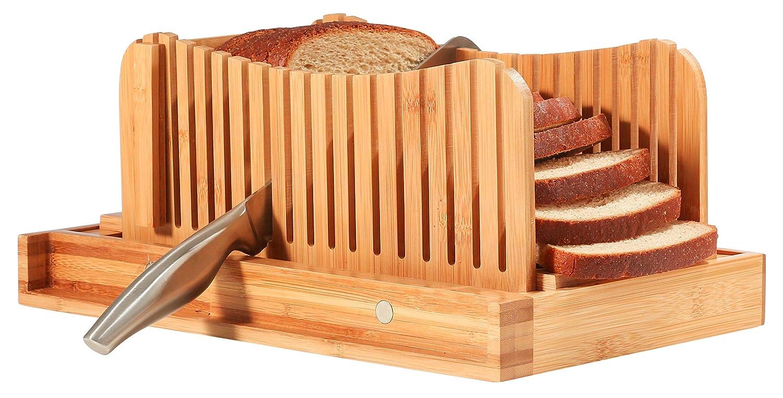 Bambüsi - Cortador de pan de bambú para panes caseros y pan de molde - incluye una guía compacta y plegable para cortar pan y un cortador de pan de ...