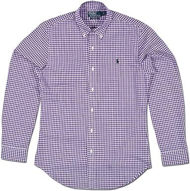 Ralph Lauren tiempo libre camisa morado/blanco camisa para hombre morado diseño de estampado a cuadros: Amazon.es: Ropa y accesorios
