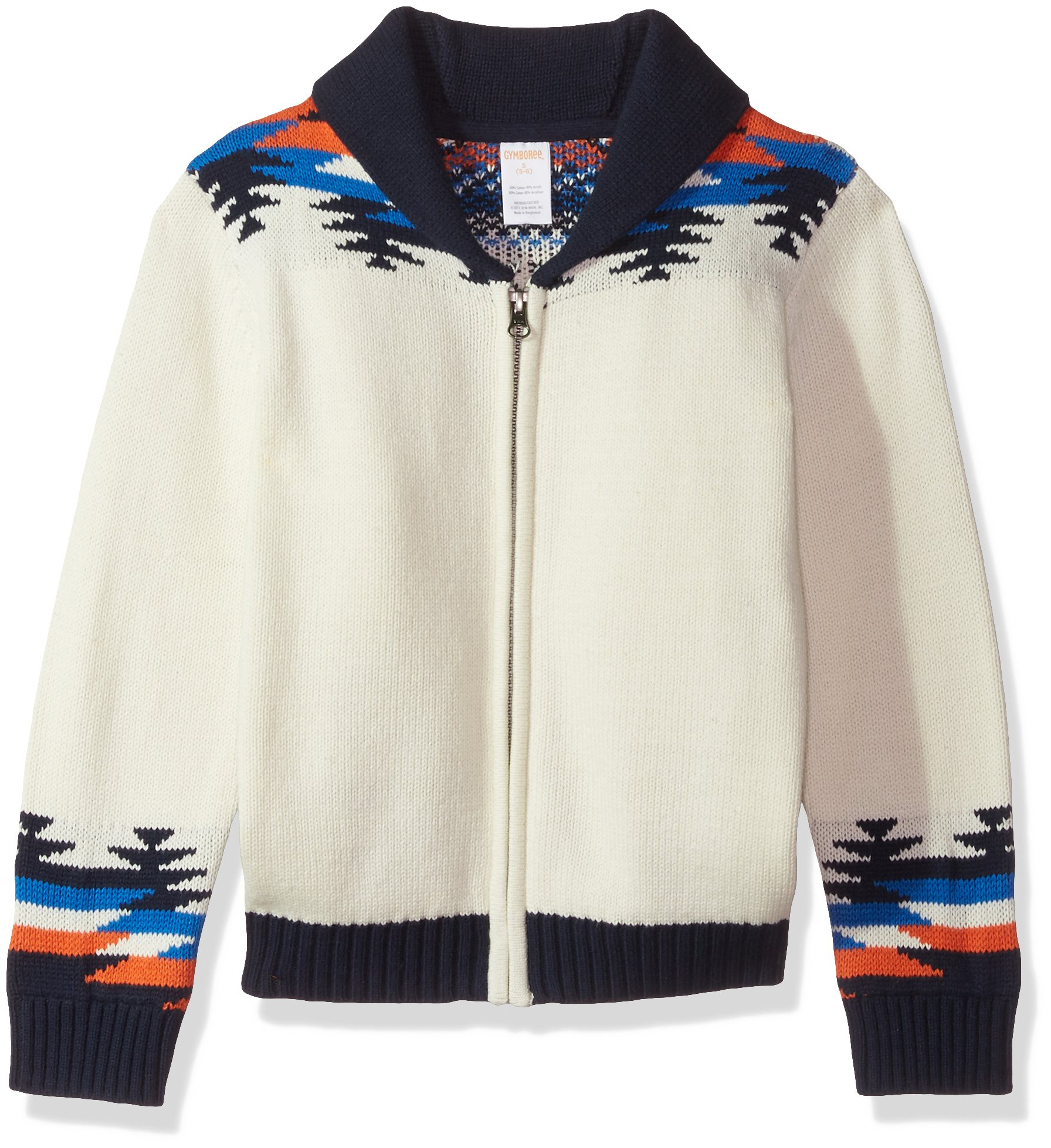 Gymboree Boys' Little Long Sleeve Cardigan Aztec Wolf, White, S