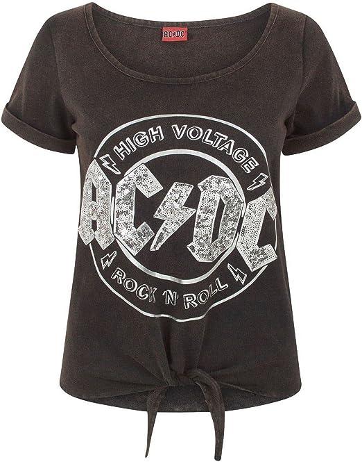 AC/DC - Camiseta con Lentejuelas y Nudo en la Parte Frontal para Mujer (Mediana (M)/Negro): Amazon.es: Ropa y accesorios