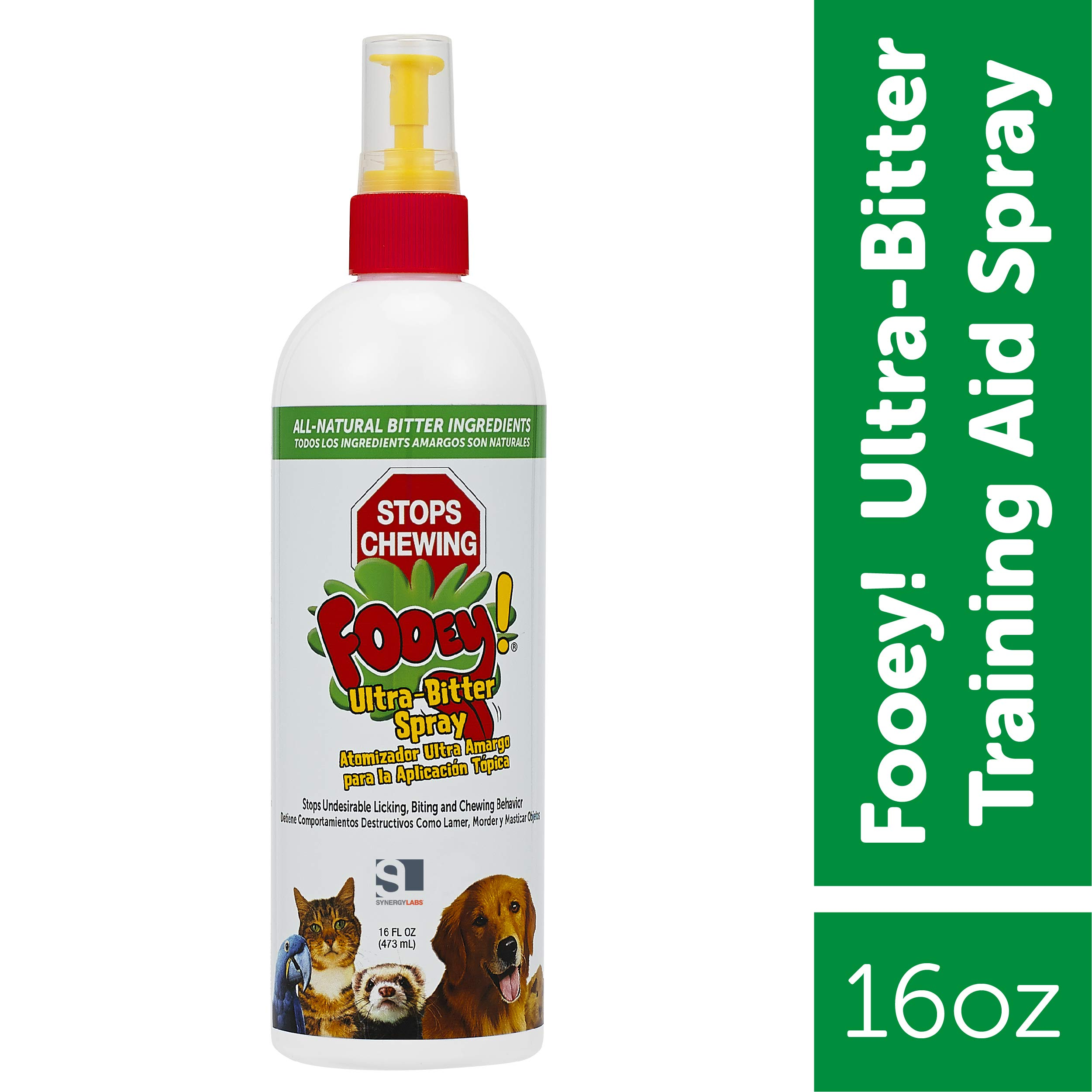 Ultra-Bitter Training Aid Spray - Chewing, Biting, Licking Deterrent for Dogs, Cats, Horses, Rabbits, Ferrets, Birds - Safe for Pet's Skin - Can Also Protect Garden from Deer and Pests (16 oz.) by Fooey
