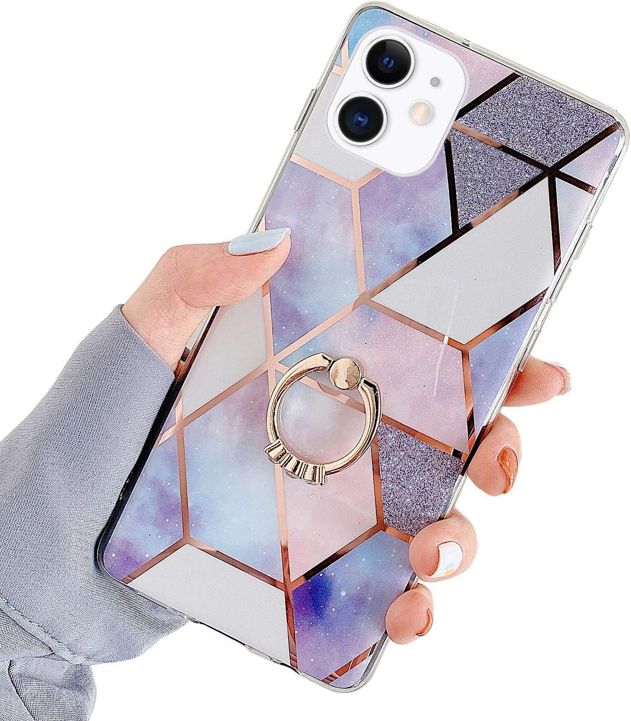 QPOLLY Compatible avec iPhone 11 Coque avec Anneau Brillante Glitter Paillettes Bling Design Marbre Motif Ultra Mince Souple TPU Silicone Gel Bumper Antichoc Housse /Étui de Protection,Blanc