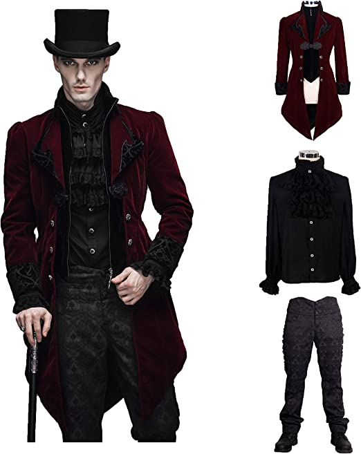 Devil Fashion Men Victorian Gothic Vintage 3 Piece Suit Tailcoat Shirts Pants Set
