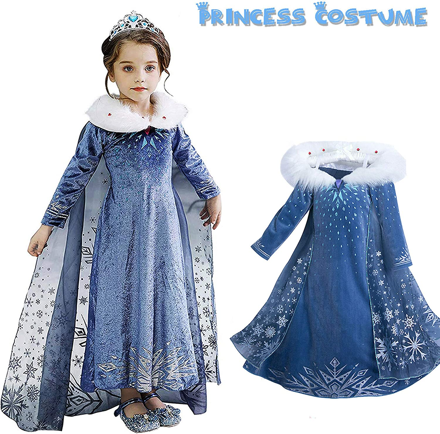 Elsa/&Anna Costume Girls Fancy Dress Kids Halloween Christmas Costumes Ice Queens Princess Dress up Party Outfit 3-8 Years