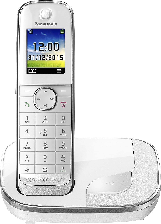 Panasonic KX-TGJ310SPW- Teléfono fijo inalámbrico (LCD color, agenda de 250 números, bloqueo de llamadas, modo ECO Plus, modo No Molestar), color blanco