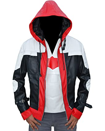 Mens Red Hood Leather Jacket Vest 2 in 1