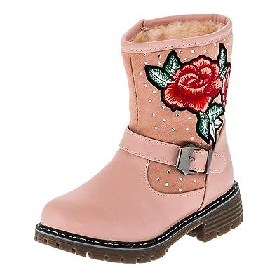 Trendige Mädchen Stiefel Lederoptik Schuhe Boots Stiefeletten Reißverschluss