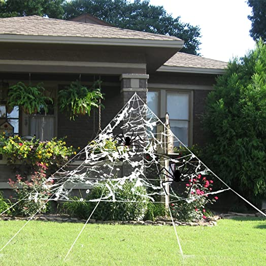 pbpbox halloween giant spider web set for outdoor halloween yard decorations 23x19ft