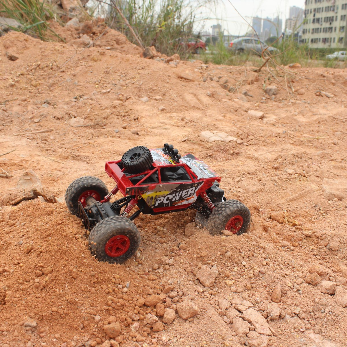 Fisca RC Car Remote Control Rock Crawler High Speed 4WD Off-Road Vehicle, 2.4Ghz 1:18 Dune Buggy Monster Truck Electric Hobby Fast Race Car with Rechargeable Battery Red