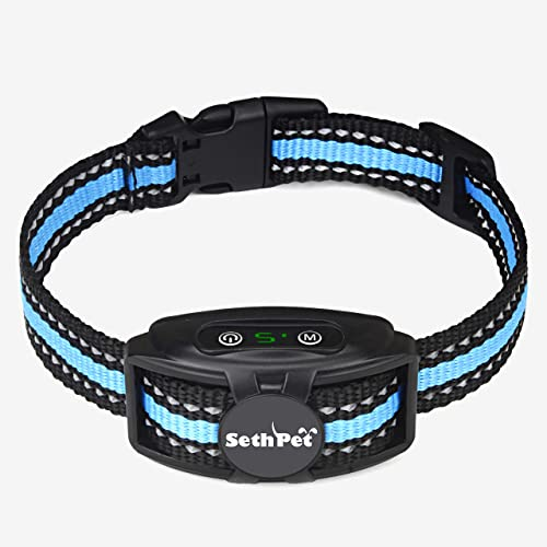 Seth Pet – Smart Bark Collar – No Shock Correction – Waterproof – Sound and Vibration – Dual Training Modes – Anti-False Triggering – for Small and Medium Dogs
