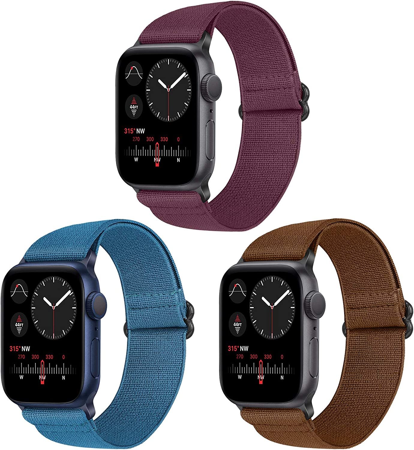Vodtian Nylon Loop Elastic Watch Band Compatible with Apple Watch 42mm 44mm, Women Men Adjustable Replacement Sport Straps for iWatch Series 6/5/4/3/2/1/SE (Navy Blue+Brown+Wine Red, 42mm/44mm)