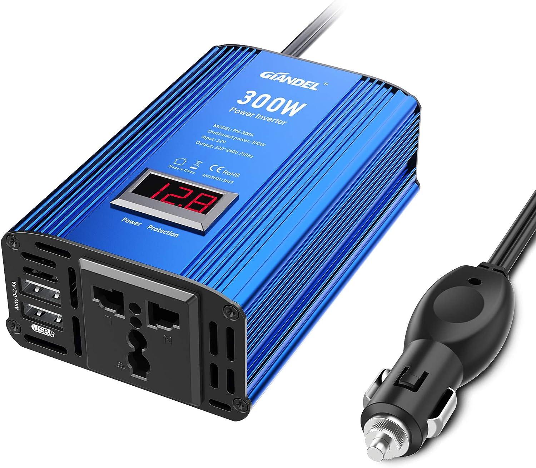 GIANDEL 300W Inversor de Corriente Onda Modificada para Coche, Convertidor 12v a 220v, Transformador con Pantalla LED Y 2 Puertos USB (5v/2.4A) para Móviles, Tableta