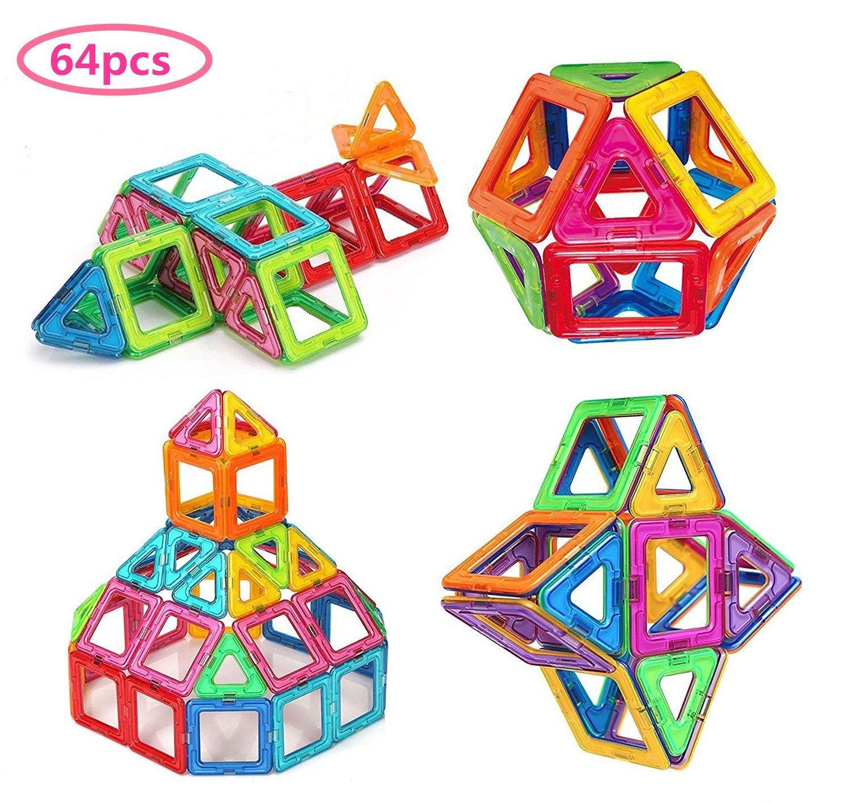 Morcare 64 Pieces Magnetic Tiles Building Blocks Educational Toys Set for Kids Construction Building Sets
