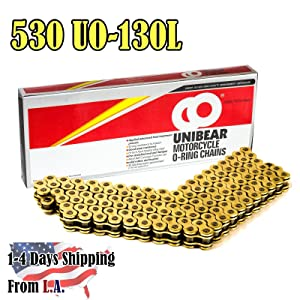 4. Unibear O-Ring 530 130 Links Motorcycle Chain, GOLD, With 1 Connecting Link