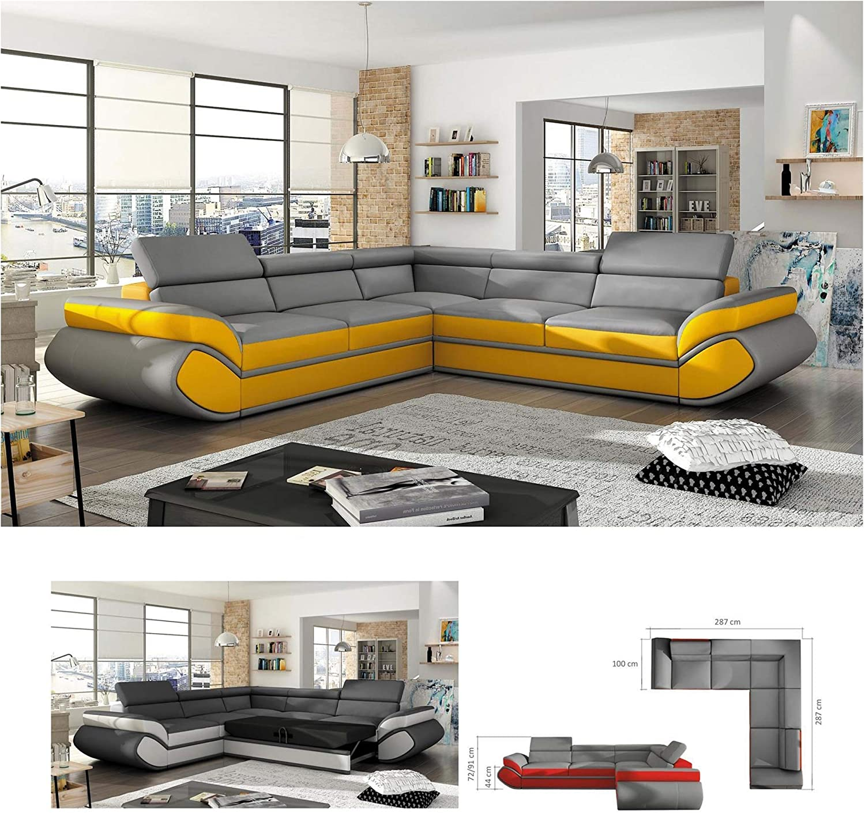 Bmf Evo Futuristic Design Corner Sofa Bed 4 5 Persons Adjustable Backrest Left Facing 287cm X 287cm Amazon Co Uk Kitchen Home