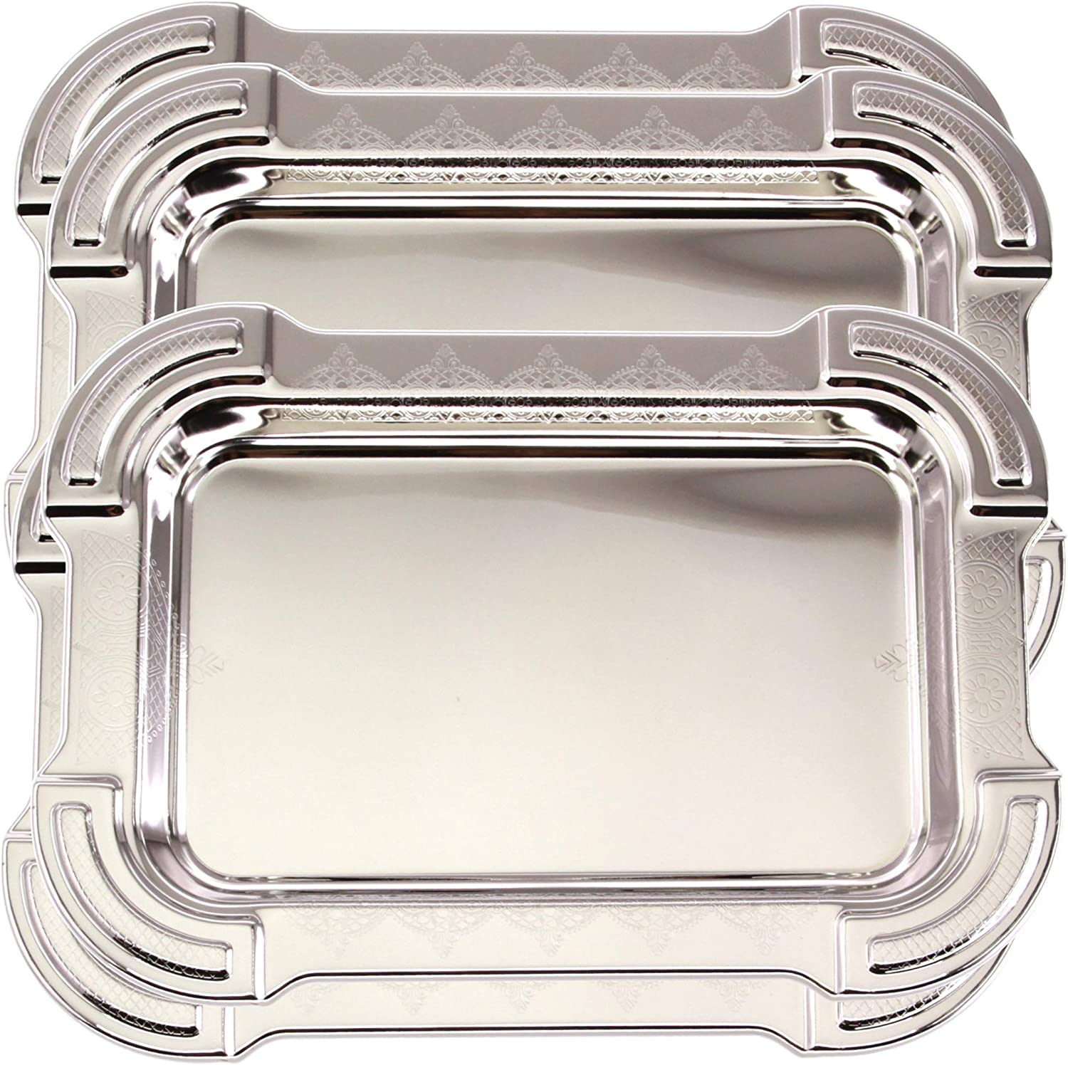 Maro Megastore (Pack of 4) 13.4 inch x 9.4 inch Oblong Chrome Plated Mirror Silver Serving Tray Stylish Design Floral Engraved Edge Decorative Party Birthday Wedding Buffet Wine Platter Plate CC-1152