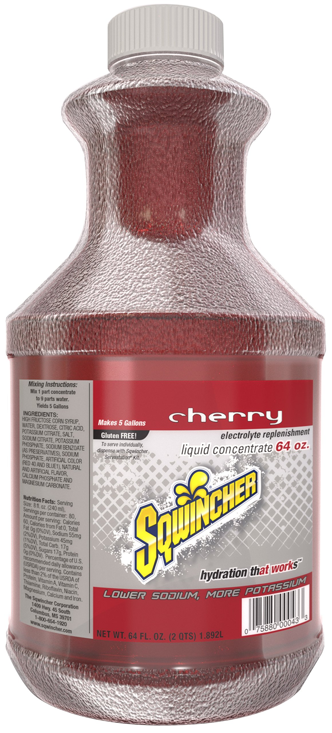 Sqwincher Liquid Concentrate Electrolyte Replacement, 5 Gallon Yield, Cherry 030321-CH (Pack of 6) by Sqwincher