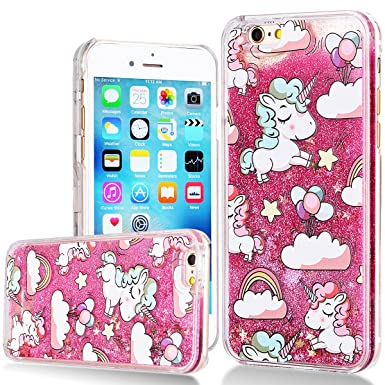 quality design 6c07c 2e201 WE LOVE CASE iPhone 6 Plus Liquid Case Bling Glitter Case Clear Hard  Protective Cover Transparent Sparkly Back Cover for iPhone 6 6S Plus Rosa  Unicorn