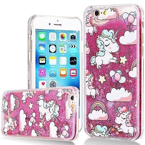 design di qualità 661a5 5dc4c WE LOVE CASE iPhone 6 Plus Liquid Case Bling Glitter Case Clear Hard  Protective Cover Transparent Sparkly Back Cover for iPhone 6 6S Plus Rosa  Unicorn