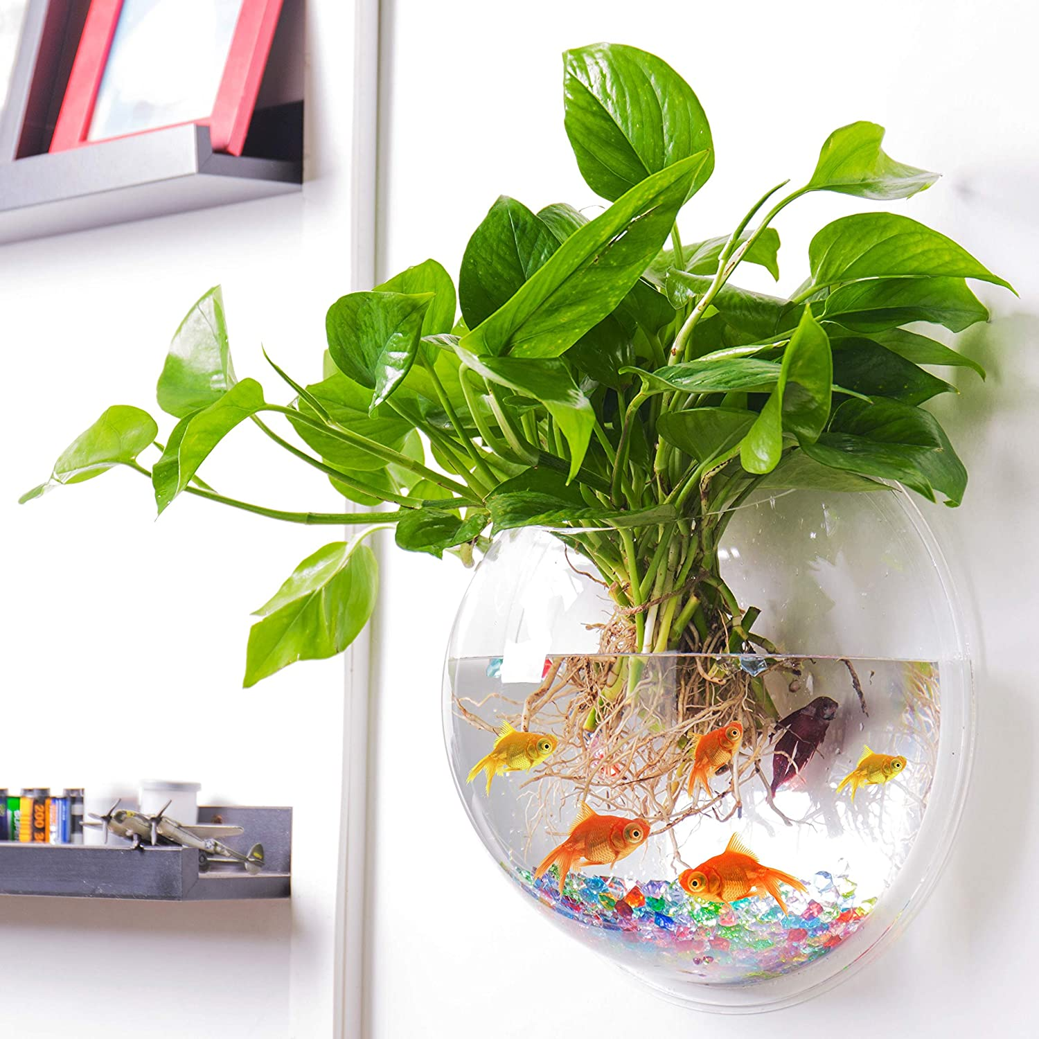 Outgeek Wall Fish Bubble Wall Hanging Bowl Clear Acrylic Vase Flower Plant Pot Aquarium