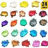 ORAK Mica Powder – 化妆品级 – 24 种不同颜色 – 肥皂制作彩剂 – 纤细的颜料粉 – 沐浴炸弹用品 – 粉末颜料套装 – 树脂染料 – 艺术品、工艺品制作 – 化妆染色