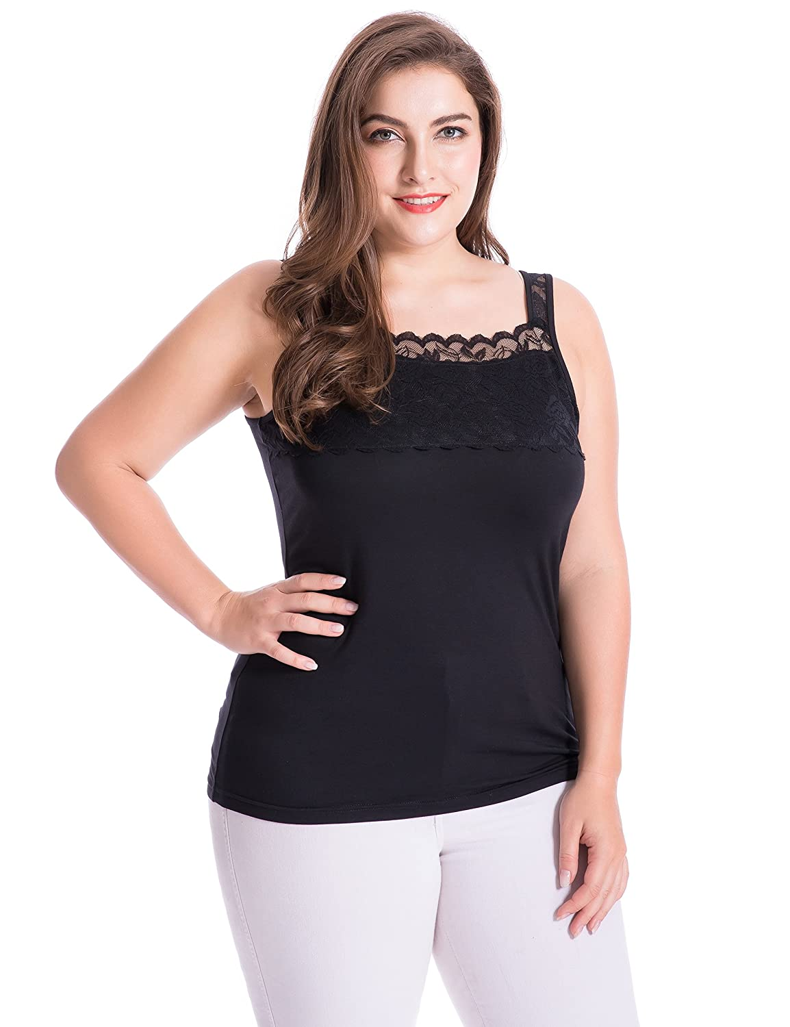 Chicwe Womens Plus Size Stretch Modal Camisole Top with Lace Square Neck