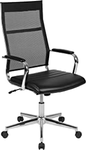 Flash Furniture High Back Black Mesh Contemporary Executive Swivel Office Chair with LeatherSoft Seat [BT-20595H-3-BK-GG]