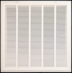 """28"""" X 14 Steel Return Air Filter Grille for 1"""" Filter - Removable Face/Door - HVAC DUCT COVER - Flat Stamped Face - White [Outer Dimensions: 30.75""""w X 16.75""""h]"""