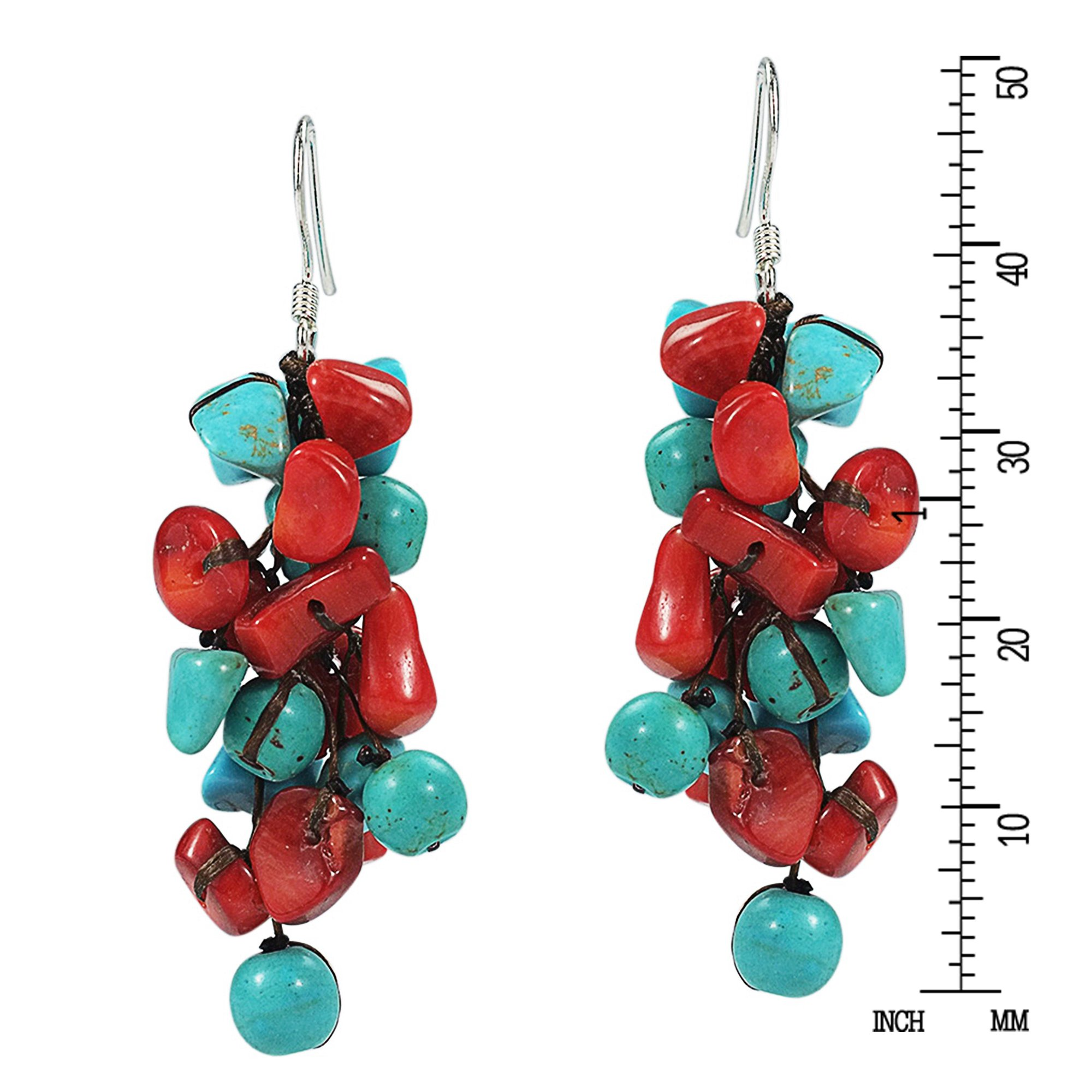 Cluster Simulated Turquoise and Reconstructed Coral Drop .925 Sterling Silver Earrings by AeraVida (Image #3)