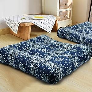 HIGOGOGO Blue Mandala Square Floor Pillow, Bohemian Style Seating Pouf Meditation Pillow Indian Cushion for Floor Yoga Seating Pad Boho Decor for Home Party Garden, 22x22 Inch, Navy Blue