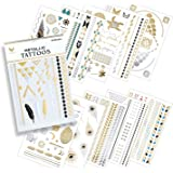 10 Premium Sheets of Metallic Gold, Silver, Turquoise and Multi-color Temporary Flash Tattoos for Women & Girls - Over 120+ Tattoos - Waterproof Trending Top Fashion Accessory ... by VeyoLife