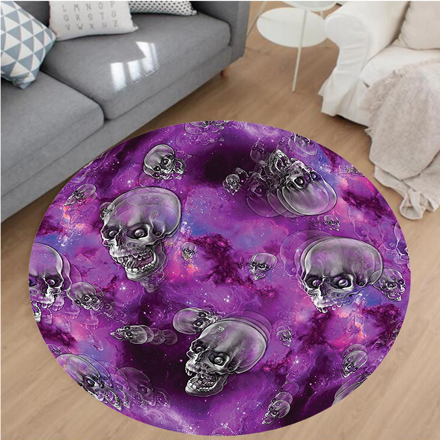 Nalahome Modern Flannel Microfiber Non-Slip Machine Washable Round Area Rug-or Horror Movie Themed Flying Skull Heads Halloween in Outer Space Image Black and Purple area rugs Home Decor-Round 75''