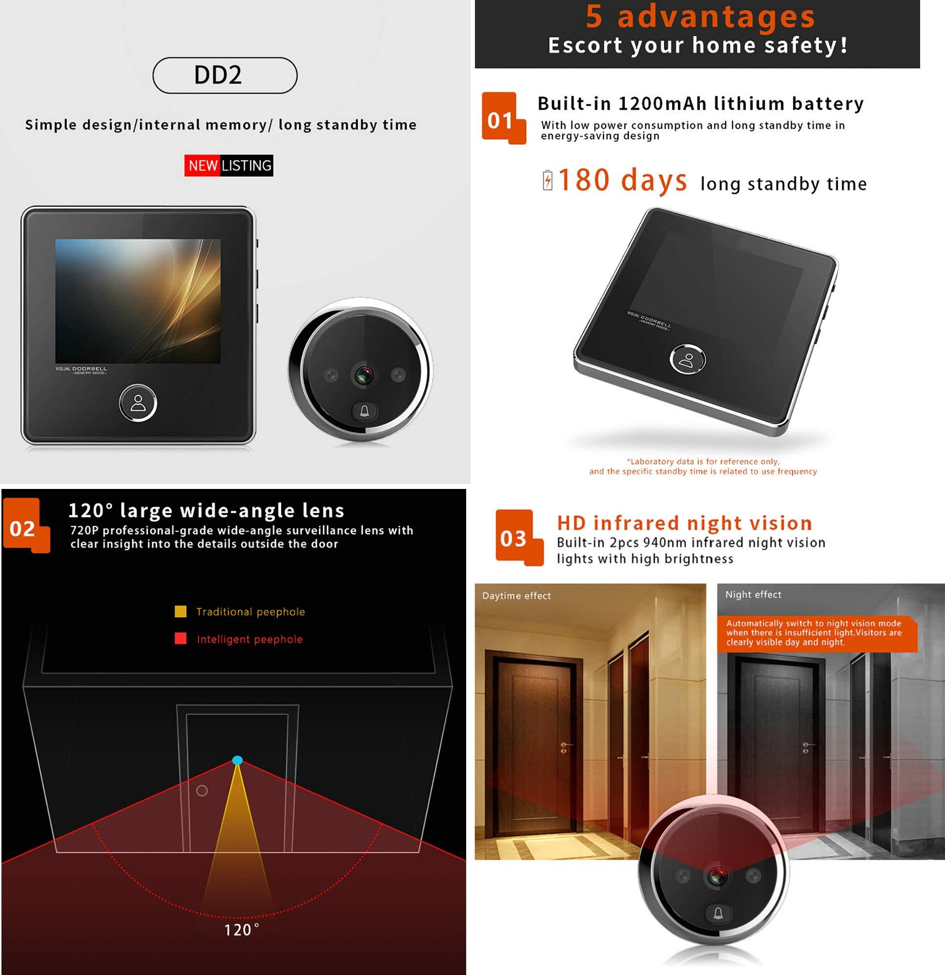 3 Inch No Disturbing Digital Door Viewer Security Cameras Door Cat Eye Doorbell with Night Vision by Asunflower (Image #2)