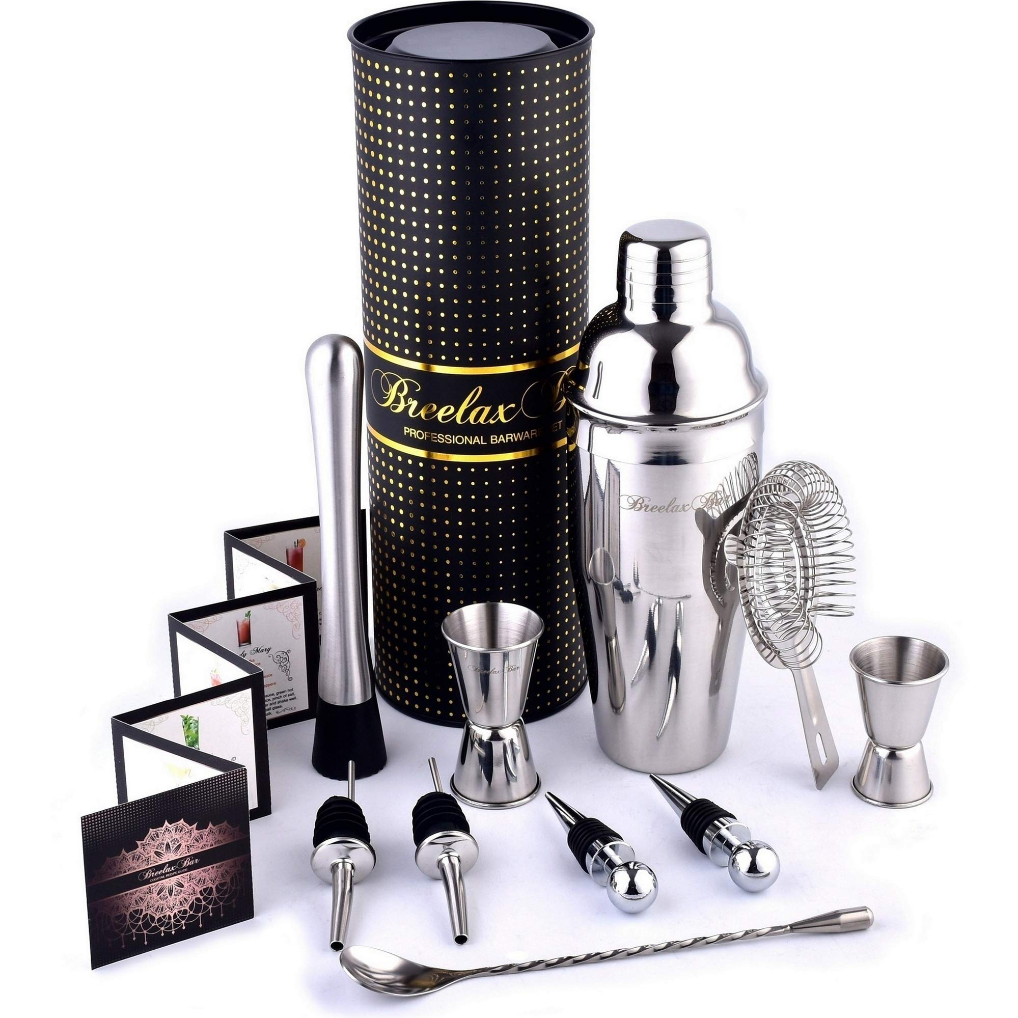 Bartender Kit Cocktail Shaker Set - Stainless Steel Bar Tools - In Perfect Gift Tube Box - Best Cocktail Margarita Mojito Martini