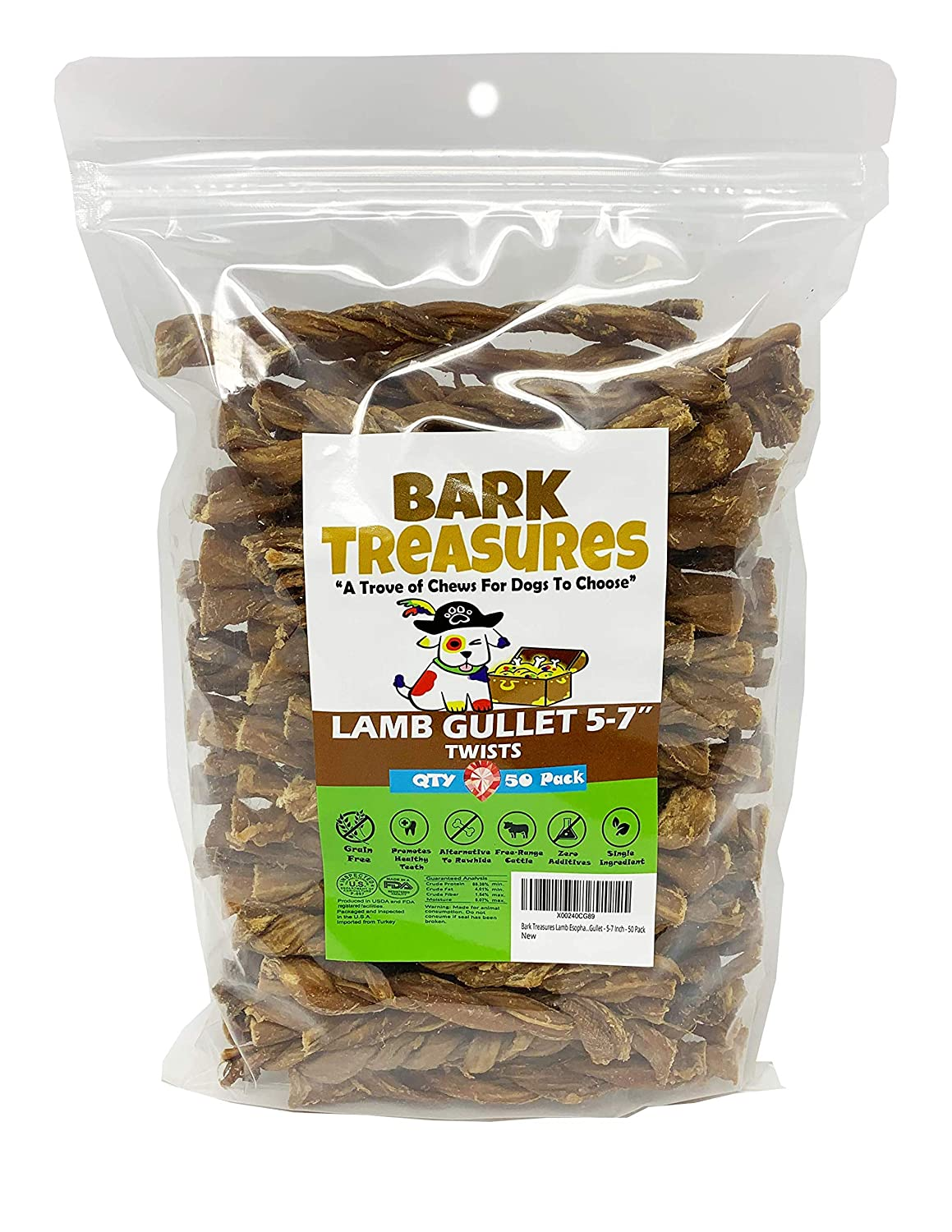 Bark Treasures Lamb Gullet Braids and Twists Dog Treats – Braided Esophagus – Twisted Esophagus Dog Chews