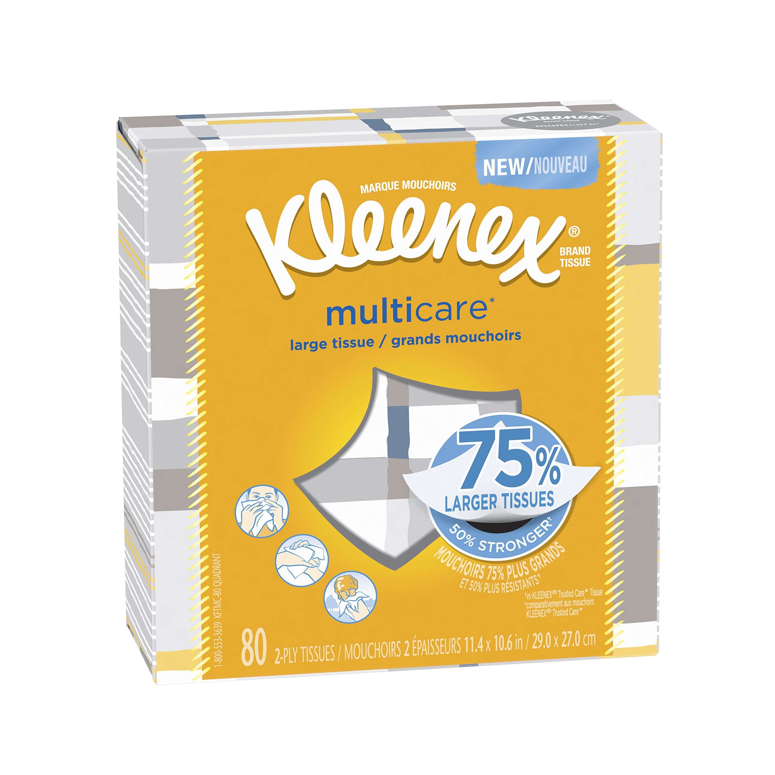 Kleenex Multicare Facial Tissues, 80 Tissues per  Box, 6 Packs