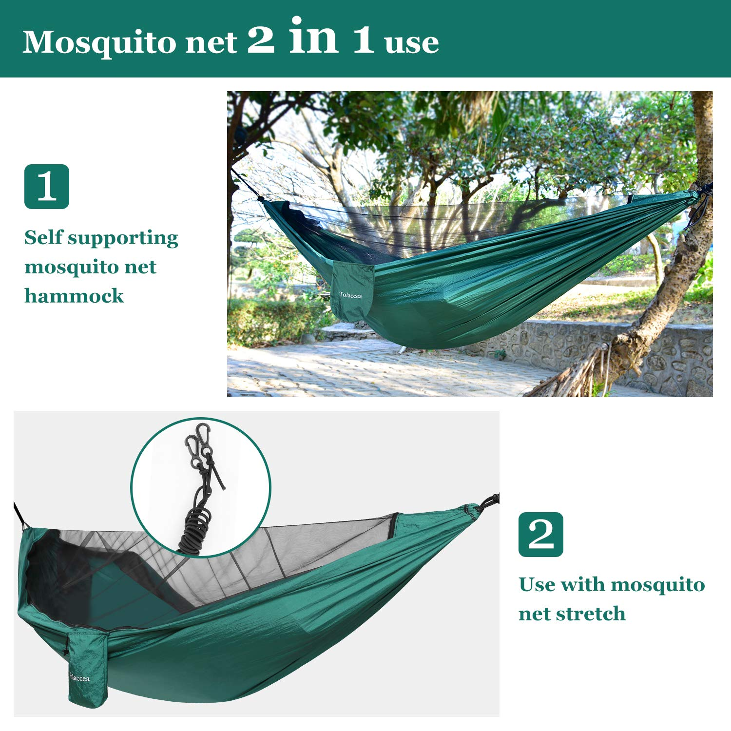 Tolaccea Camping Hammock with Self-Supporting Mosquito Net Lightweight Hammock Indoor Outdoor Double & Single Hammock for Backpacking, Travel, Beach, Yard, Hiking, Adventures.