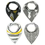 Amazon Price History for:Bandana Bib Set of 4 by Matimati Baby - Extra Absorbent Drool Bibs with Snaps for Boys & Girls (Gold & Gray)